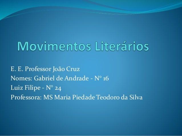 E. E. Professor João Cruz Nomes: Gabriel de Andrade - N° 16 Luiz Filipe - N° 24 Professora: MS Maria Piedade Teodoro da Si...