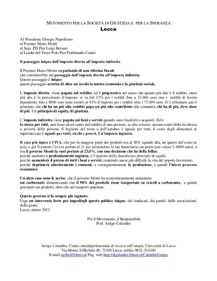 MOVIMENTO PER LA SOCIETÀ DI GIUSTIZIA E PER LA SPERANZA                                        LecceAl Presidente Giorgio ...
