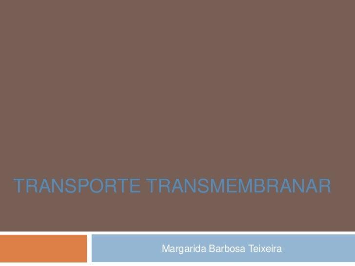 TRANSPORTE TRANSMEMBRANAR           Margarida Barbosa Teixeira