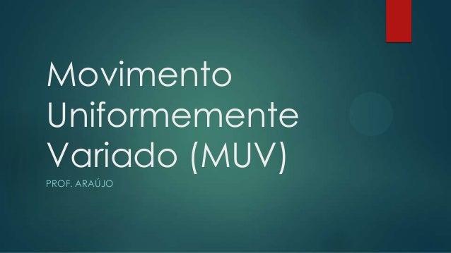 MovimentoUniformementeVariado (MUV)PROF. ARAÚJO