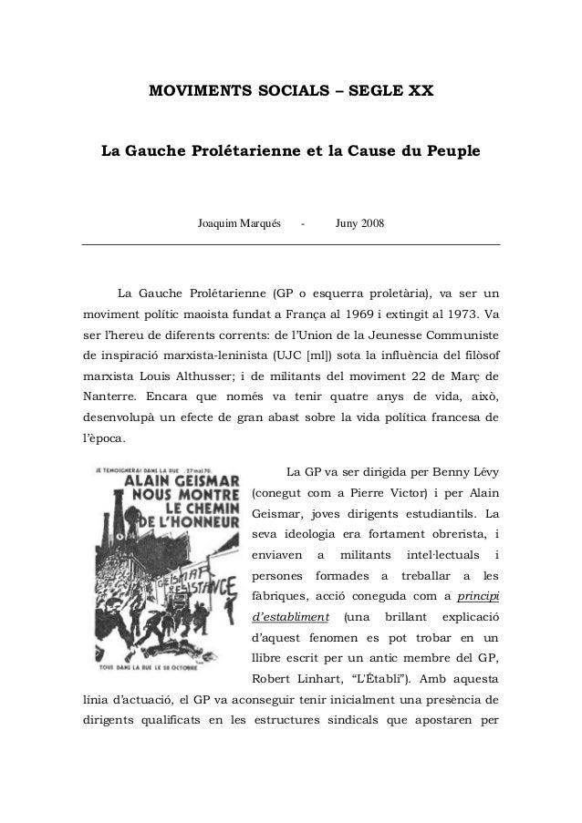 MOVIMENTS SOCIALS – SEGLE XX   La Gauche Prolétarienne et la Cause du Peuple                    Joaquim Marqués     -     ...