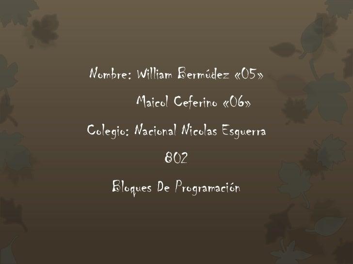 Nombre: William Bermúdez «05»         Maicol Ceferino «06»Colegio: Nacional Nicolas Esguerra              802    Bloques D...