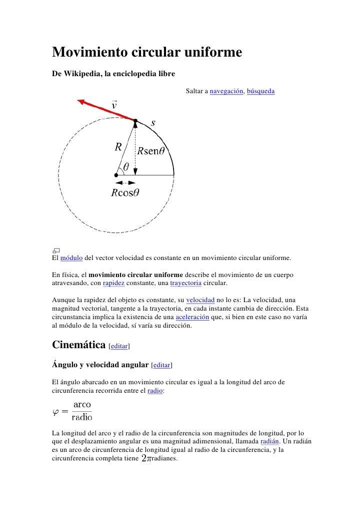 Movimiento circular uniforme<br />De Wikipedia, la enciclopedia libre<br />Saltar a navegación, búsqueda<br />lefttop<br /...