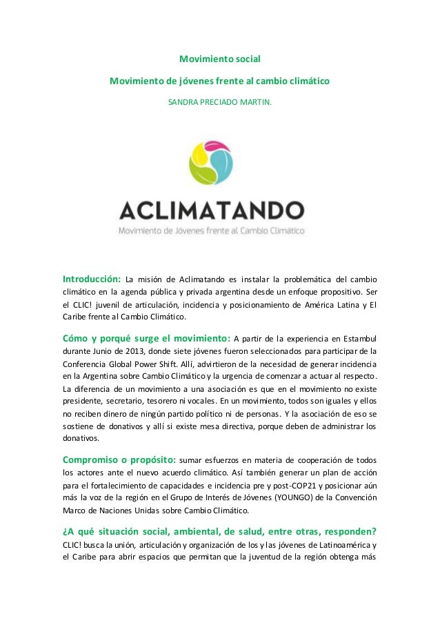 Movimiento social Movimiento de jóvenes frente al cambio climático SANDRA PRECIADO MARTIN. Introducción: La misión de Acli...