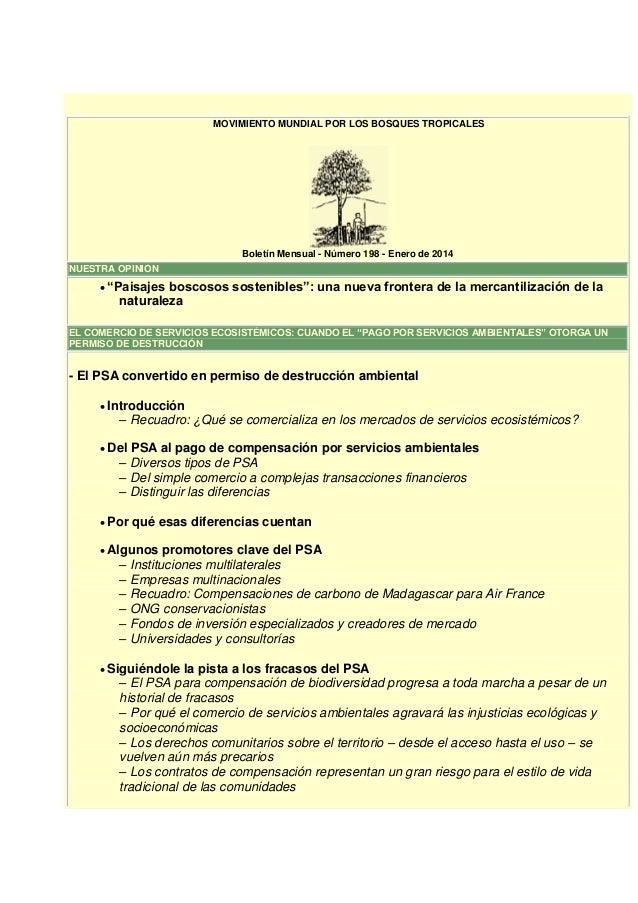 """MOVIMIENTO MUNDIAL POR LOS BOSQUES TROPICALES  Boletín Mensual - Número 198 - Enero de 2014 NUESTRA OPINIÓN   """"Paisajes  ..."""