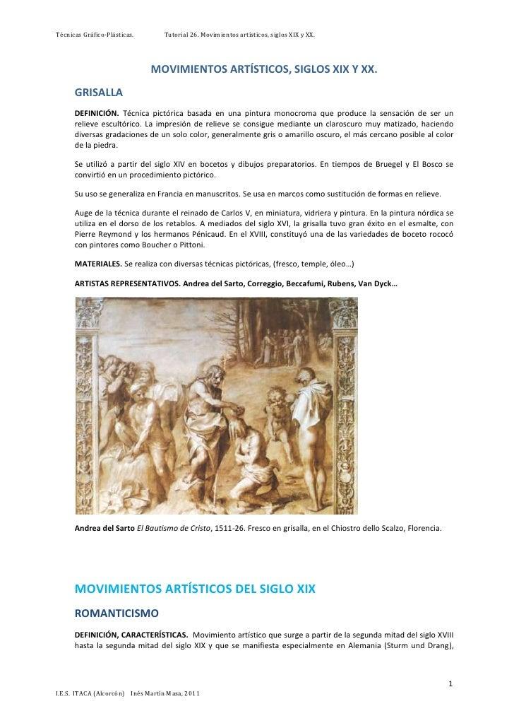 Técnicas Gráfico-Plásticas.       Tutorial 26. Movimientos artísticos, siglos XIX y XX.                              MOVIM...