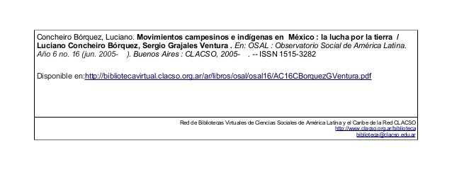 Concheiro Bórquez, Luciano. Movimientos campesinos e indígenas en México : la lucha por la tierra / Luciano Concheiro Bórq...