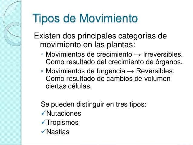 Movimiento vegetal for Cuales son los tipos de plantas