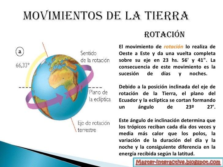 """rotación El movimiento de rotación lo realiza de Oeste a Este y da una vuelta completa sobre su eje en 23 hs. 56' y 41"""". L..."""