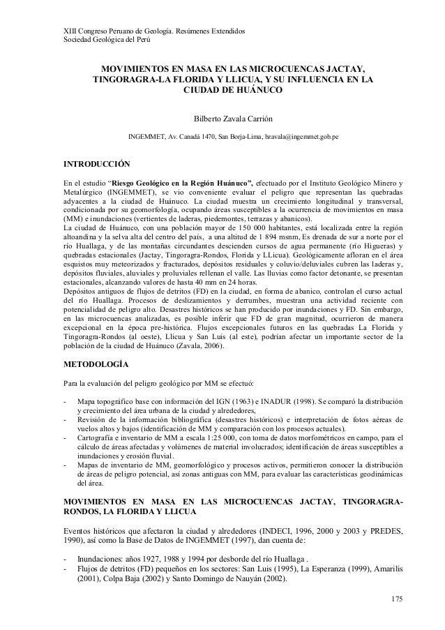 XIII Congreso Peruano de Geología. Resúmenes Extendidos Sociedad Geológica del Perú 175 MOVIMIENTOS EN MASA EN LAS MICROCU...
