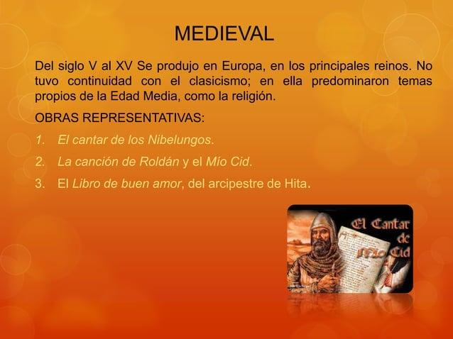 MEDIEVAL Del siglo V al XV Se produjo en Europa, en los principales reinos. No tuvo continuidad con el clasicismo; en ella...