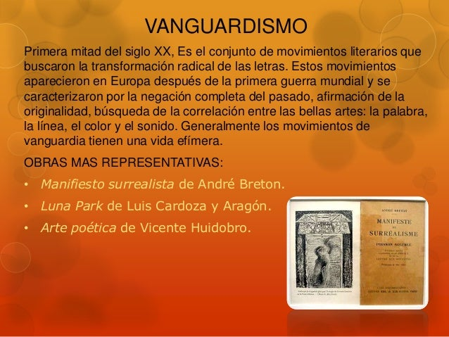 Movimientos literarios for Vanguardia concepto
