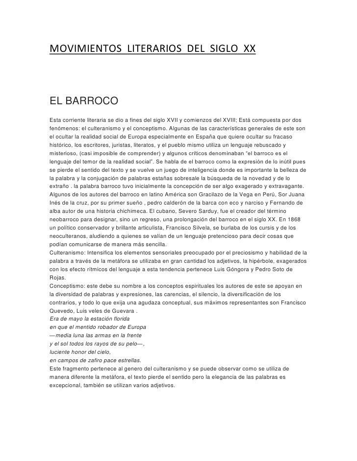 MOVIMIENTOS  LITERARIOS  DEL  SIGLO  XX<br />EL BARROCOEsta corriente literaria se dio a fines del siglo XVII y comienzos...