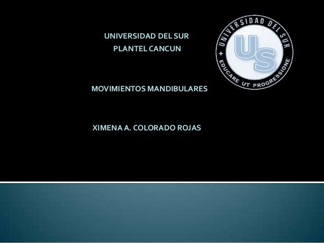 UNIVERSIDAD DEL SUR    PLANTEL CANCUNMOVIMIENTOS MANDIBULARESXIMENA A. COLORADO ROJAS
