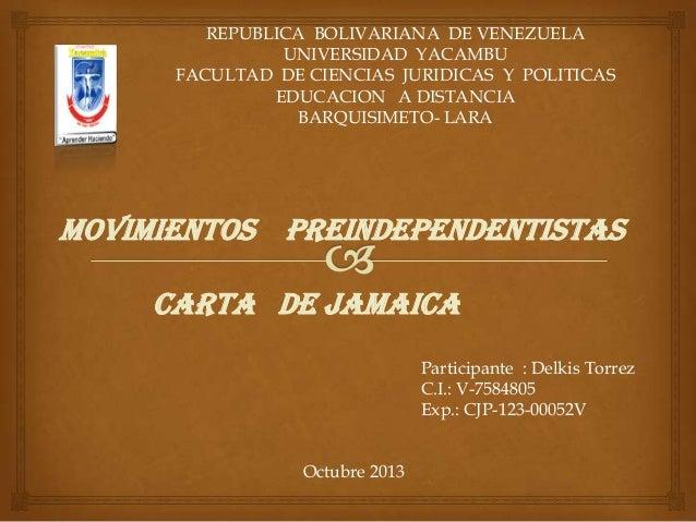 REPUBLICA BOLIVARIANA DE VENEZUELA UNIVERSIDAD YACAMBU FACULTAD DE CIENCIAS JURIDICAS Y POLITICAS EDUCACION A DISTANCIA BA...