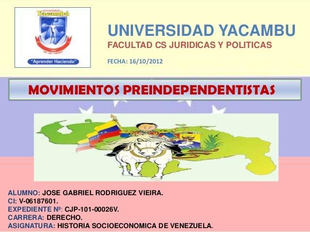 UNIVERSIDAD YACAMBU                       FACULTAD CS JURIDICAS Y POLITICAS                       FECHA: 16/10/2012    MOV...