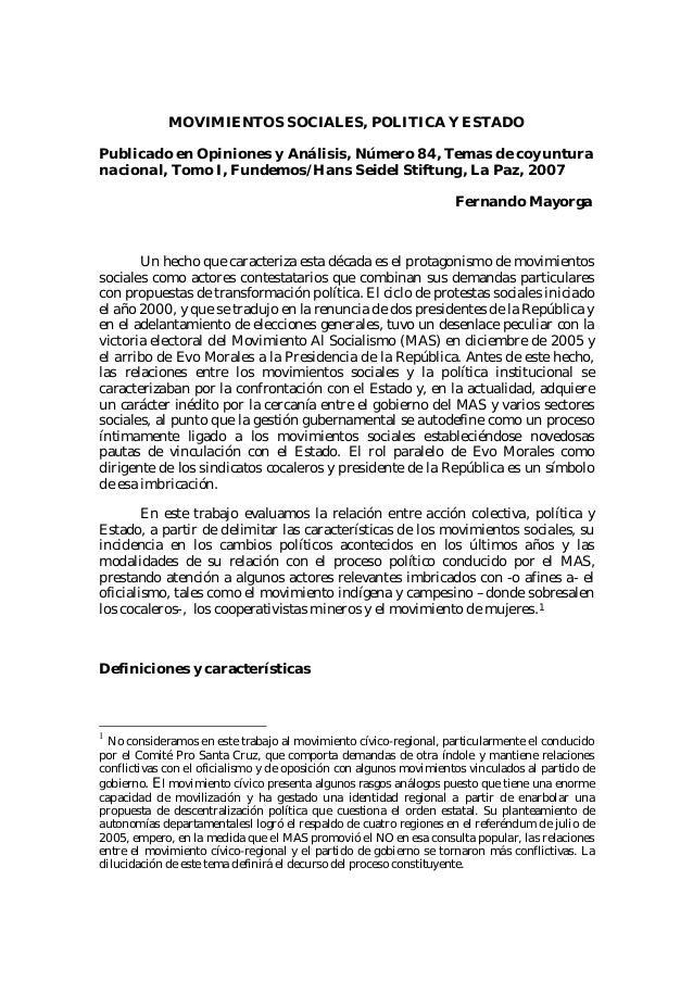 MOVIMIENTOS SOCIALES, POLITICA Y ESTADOPublicado en Opiniones y Análisis, Número 84, Temas de coyunturanacional, Tomo I, F...