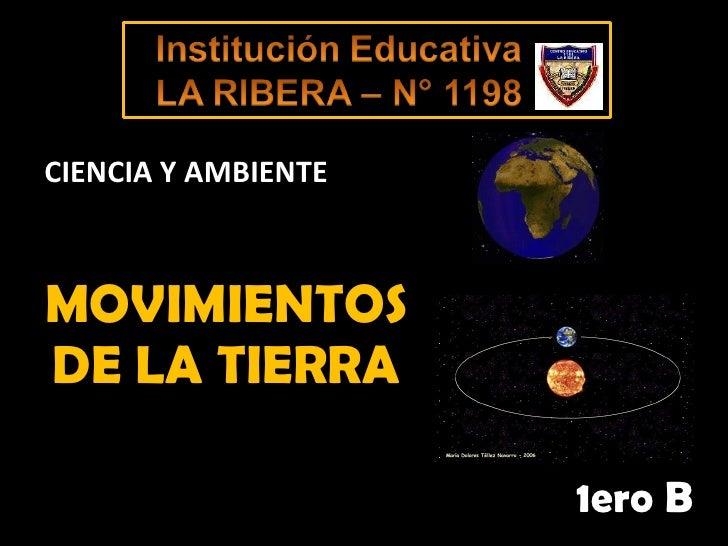 MOVIMIENTOS DE LA TIERRA 1ero B CIENCIA Y AMBIENTE