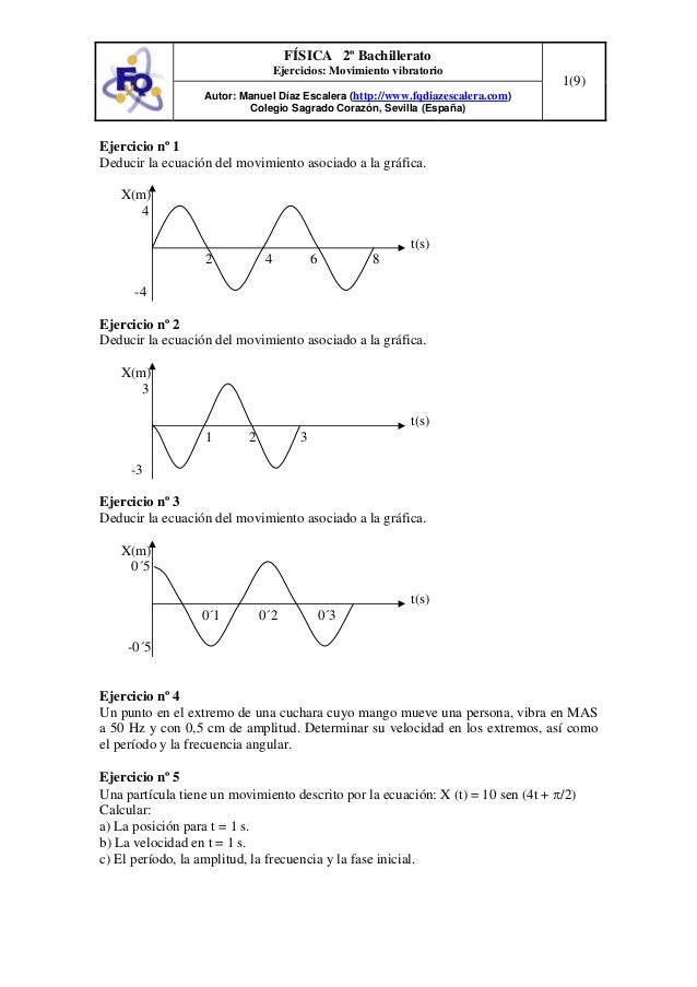 FÍSICA 2º Bachillerato Ejercicios: Movimiento vibratorio Autor: Manuel Díaz Escalera (http://www.fqdiazescalera.com) Coleg...