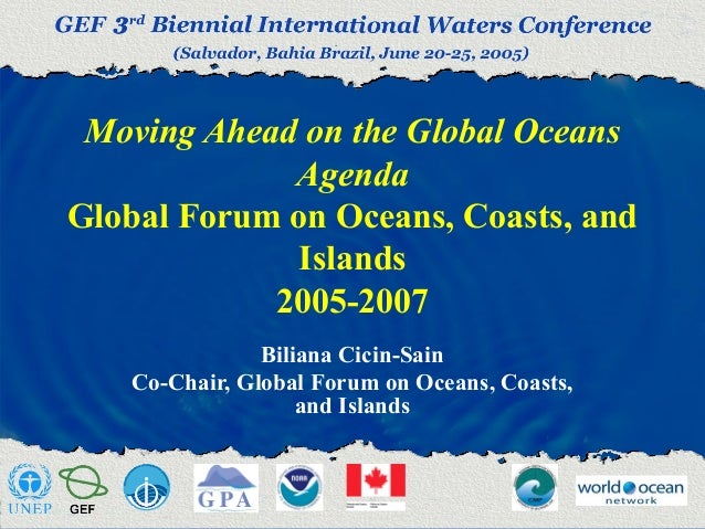 Moving Ahead on the Global Oceans Agenda Global Forum on Oceans, Coasts, and Islands 2005-2007 Biliana Cicin-Sain Co-Chair...