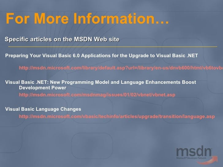 Download MSDN Library for Visual Basic 6