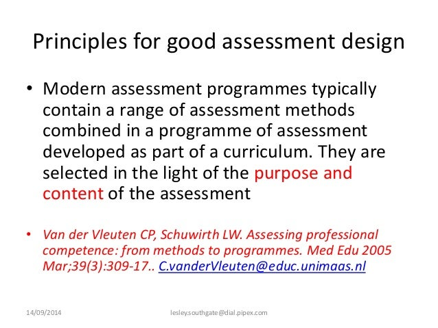 The differing principles of assessment of
