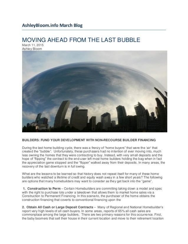 Moving Ahead from the Last Bubble