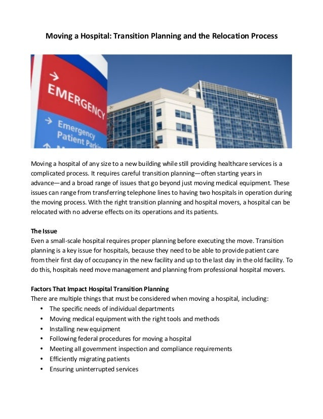 Planning For Transition Before >> Moving A Hospital Transition Planning And The Relocation Process