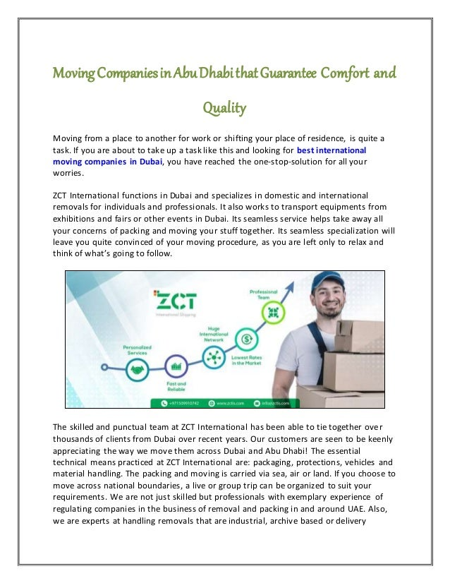 Moving Companies in Abu Dhabi that Guarantee Comfort and Quality