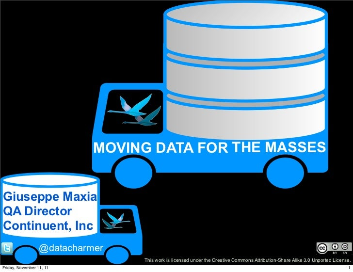 MOVING DATA FOR THE MASSESGiuseppe MaxiaQA DirectorContinuent, Inc                  @datacharmer                          ...
