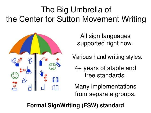 The Big Umbrella of the Center for Sutton Movement Writing All sign languages supported right now. 4+ years of stable and ...