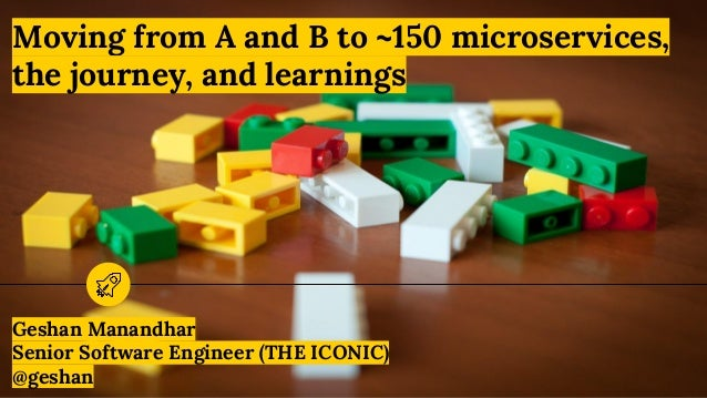 Moving from A and B to ~150 microservices, the journey, and learnings Geshan Manandhar Senior Software Engineer (THE ICONI...