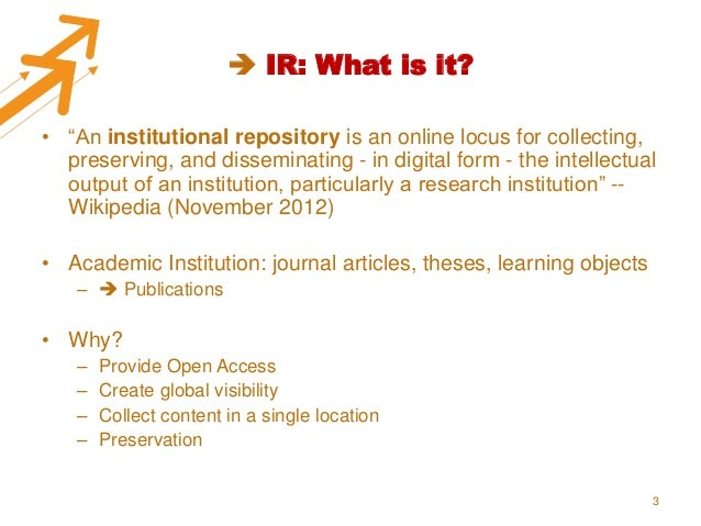 Moving from an IR to a CRIS, the why & how Slide 3
