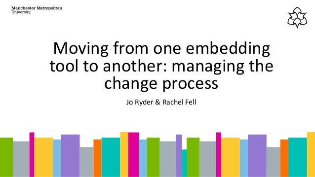 Moving from one embedding tool to another: managing the change process Jo Ryder & Rachel Fell