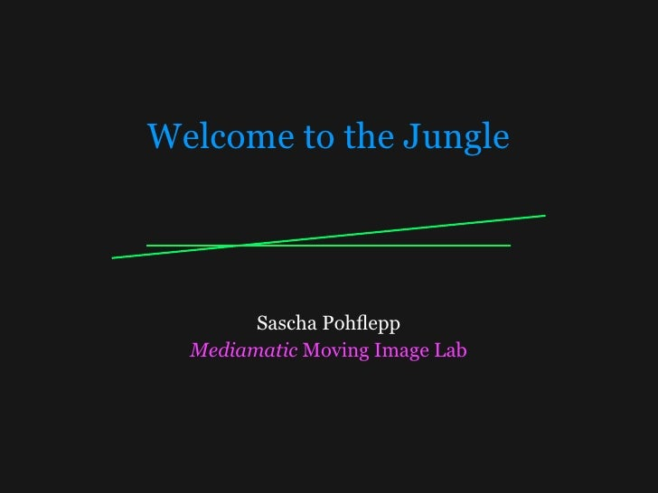 Welcome to the Jungle             Sascha Pohflepp   Mediamatic Moving Image Lab