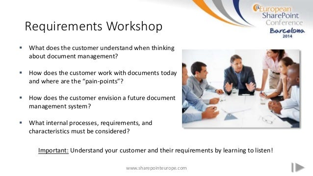 Requirements Workshop www.sharepointeurope.com  What does the customer understand when thinking about document management...