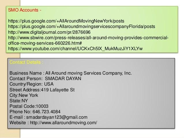 SMO Accounts - https://plus.google.com/+AllAroundMovingNewYork/posts https://plus.google.com/+Allaroundmovingservicescompa...