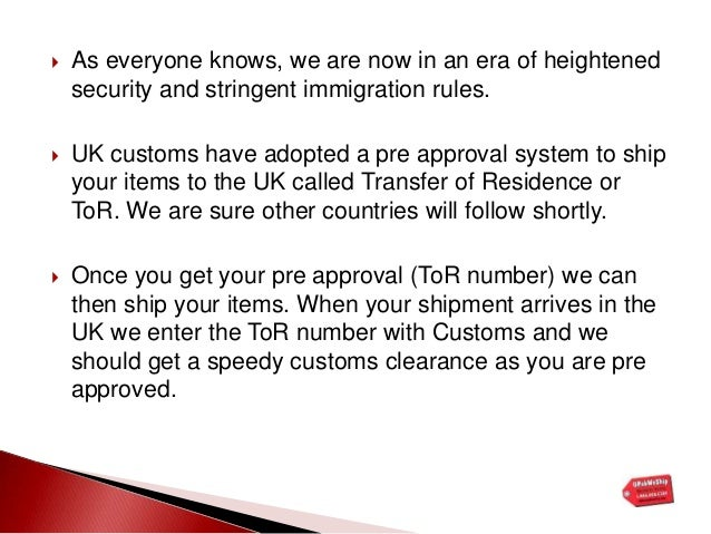 Moving to the uk? New customs proedures explained pptx