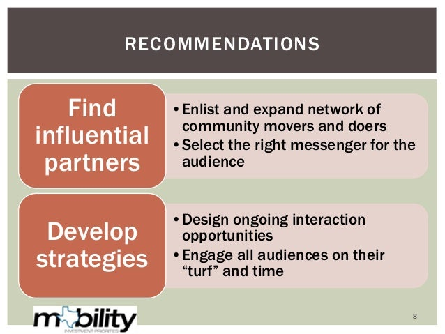 •Enlist and expand network of community movers and doers •Select the right messenger for the audience Find influential par...