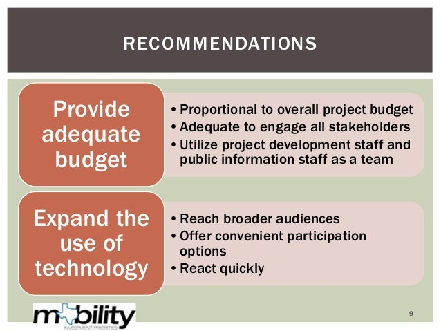 •Proportional to overall project budget •Adequate to engage all stakeholders •Utilize project development staff and public...
