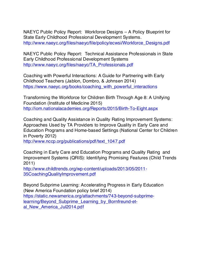 Moving toward the early childhood profession resources naeyc public policy report workforce designs a policy blueprint for state early childhood professional development malvernweather Image collections