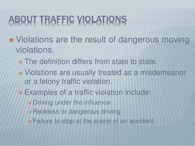 Moving Vs Non Moving Traffic Violations