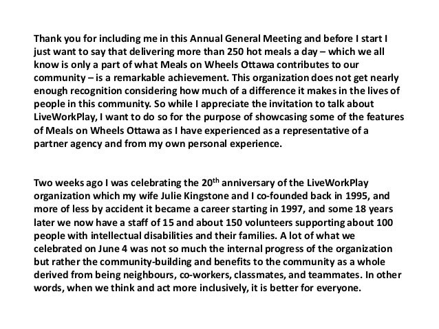 Thank you for including me in this Annual General Meeting and before I start I just want to say that delivering more than ...