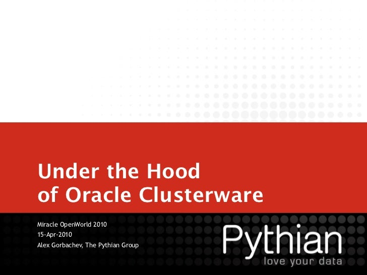 Under the Hoodof Oracle ClusterwareMiracle OpenWorld 201015-Apr-2010Alex Gorbachev, The Pythian Group