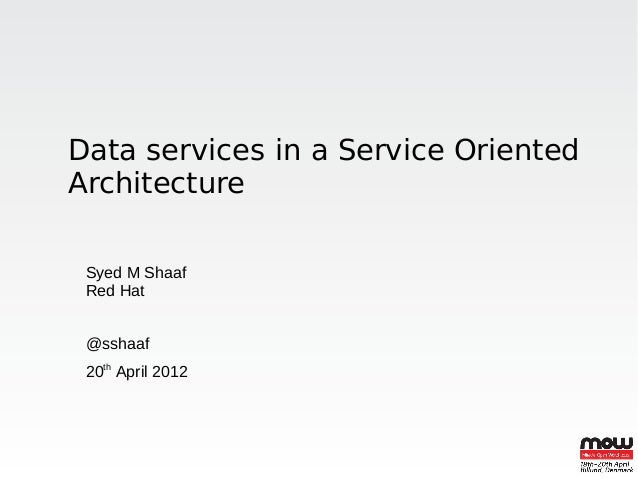Data services in a Service OrientedArchitecture Syed M Shaaf Red Hat @sshaaf 20th April 2012