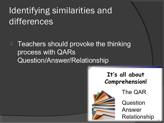 Research Based Strategies To Help >> Identifying Similarities And Differences Research Based Strategies