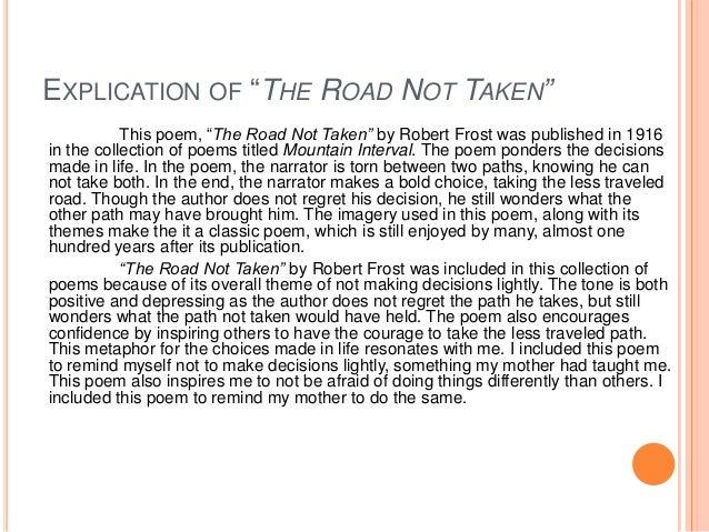 the road not taken moral
