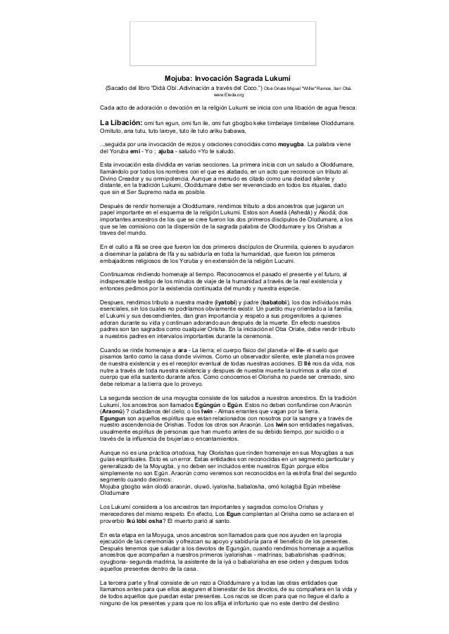 """Mojuba: Invocación Sagrada Lukumí (Sacado del libro """"Didá Obí..Adivinación a través del Coco."""") Obá Oriaté Miguel """"Willie""""..."""