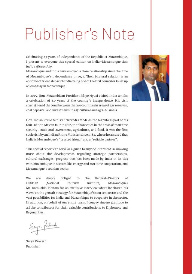 Celebrating 43 years of independence of the Republic of Mozambique, I present to everyone this special edition on India–Mo...