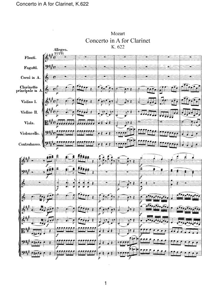 Concerto in A for Clarinet, K.622                                         1
